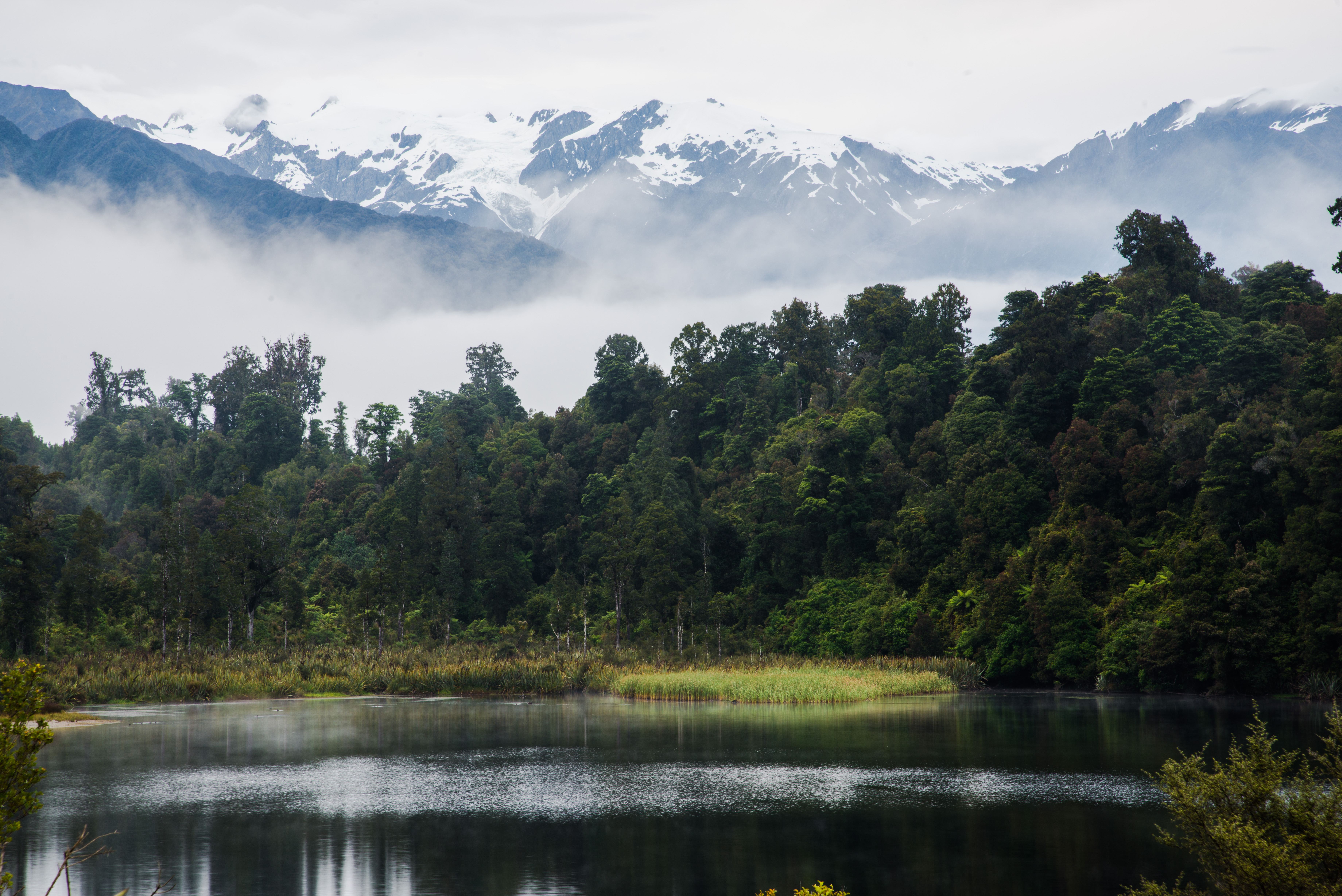 Fog on Lake and Mountains, New Zealand