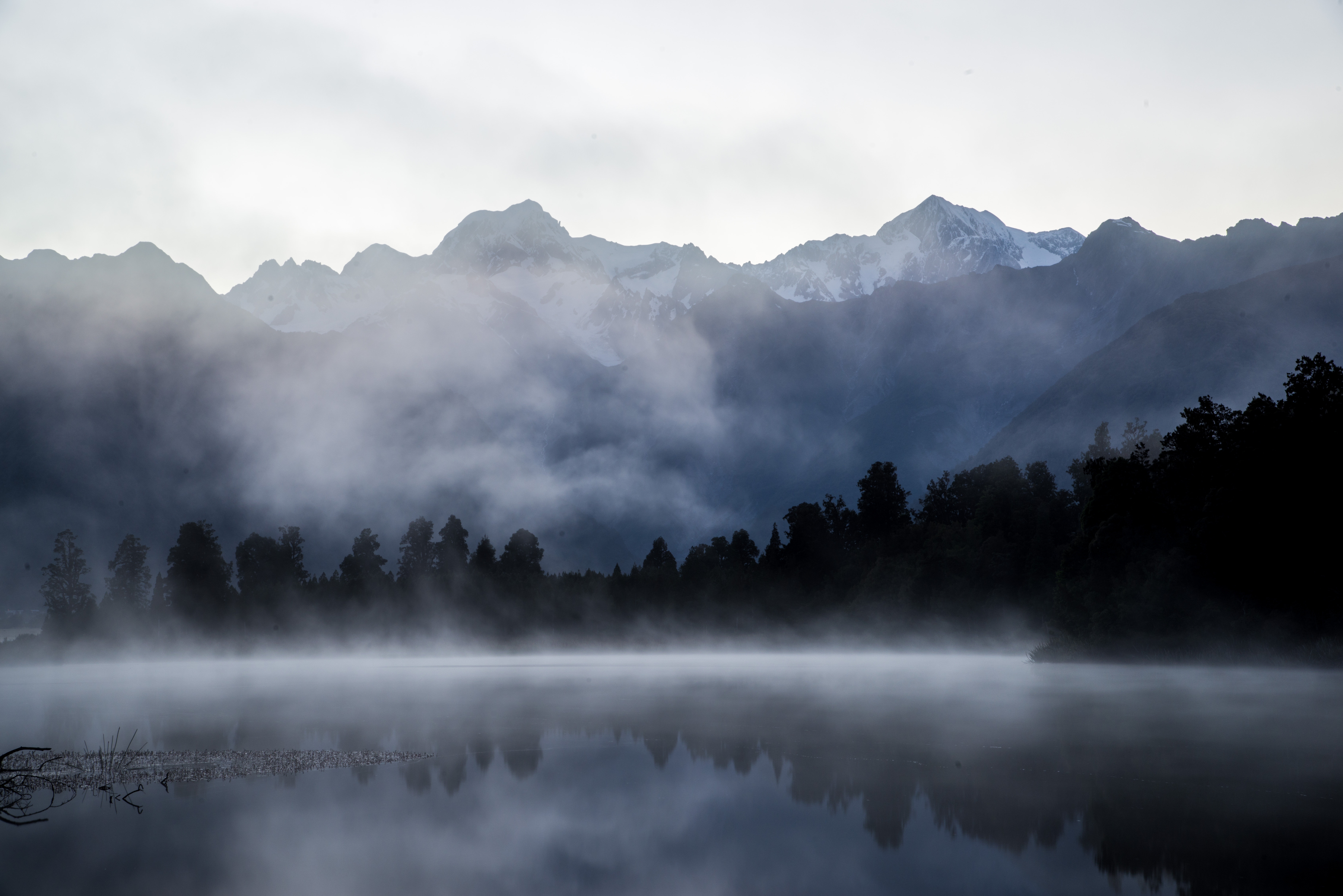 Overcast Lake Matheson, New Zealand